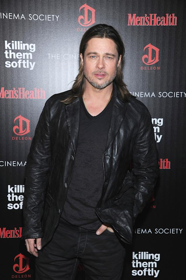 "NEW YORK, NY - NOVEMBER 26:  Actor Brad Pitt attends The Cinema Society with Men's Health and DeLeon hosted screening of The Weinstein Company's ""Killing Them Softly"" on November 26, 2012 in New York City.  (Photo by Dimitrios Kambouris/WireImage)"