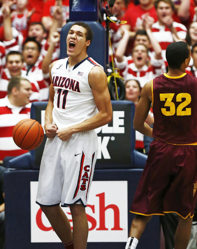 Arizona's Aaron Gordon celebrates his basket and that he was fouled on the play against the Arizona State during an NCAA college basketball game on Thursday, Jan. 16, 2014, in Tucson, Ariz. (AP Photo/The Arizona Republic, Rob Schuamcher)