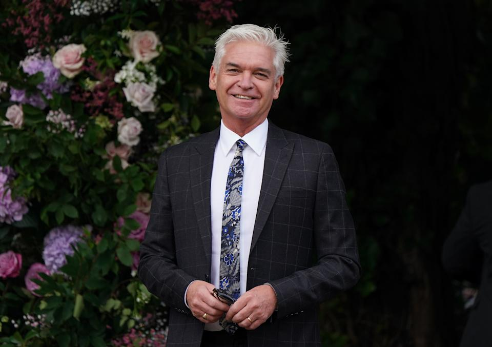 Phillip Schofield arriving at St Michael's church, Heckfield in Hampshire, for the wedding of Anthony McPartlin to Anne-Marie Corbett. Ant is one half of the entertainment duo Ant and Dec. Picture date: Saturday August 7, 2021. (Photo by Andrew Matthews/PA Images via Getty Images)