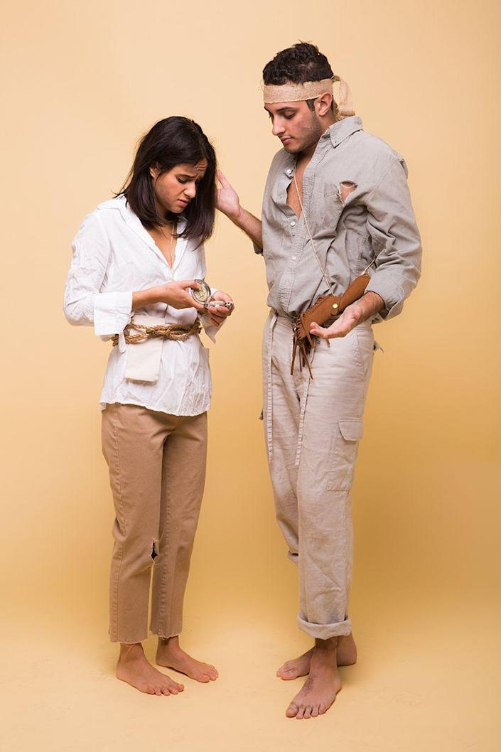 """<p>To look like a pair of explorers who got stranded at sea, simply tear up some old, faded clothes and accessorize with some survival gear. </p><p><strong><em><a href=""""https://camillestyles.com/design/shipwrecked-couples-costume/"""" rel=""""nofollow noopener"""" target=""""_blank"""" data-ylk=""""slk:Get the tutorial at Camille Styles"""" class=""""link rapid-noclick-resp"""">Get the tutorial at Camille Styles</a>. </em></strong></p>"""