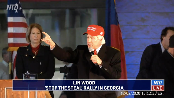 "Lin Wood speaks at a ""Stop the Steal"" rally in Atlanta, Ga. on Decermber 2, 2020. (NTD via YouTube)"