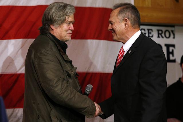 Republican Senate candidate Roy Moore, right, with Steve Bannon during a campaign event in Fairhope, Ala., in December. (Photo: Jonathan Bachman/Reuters)
