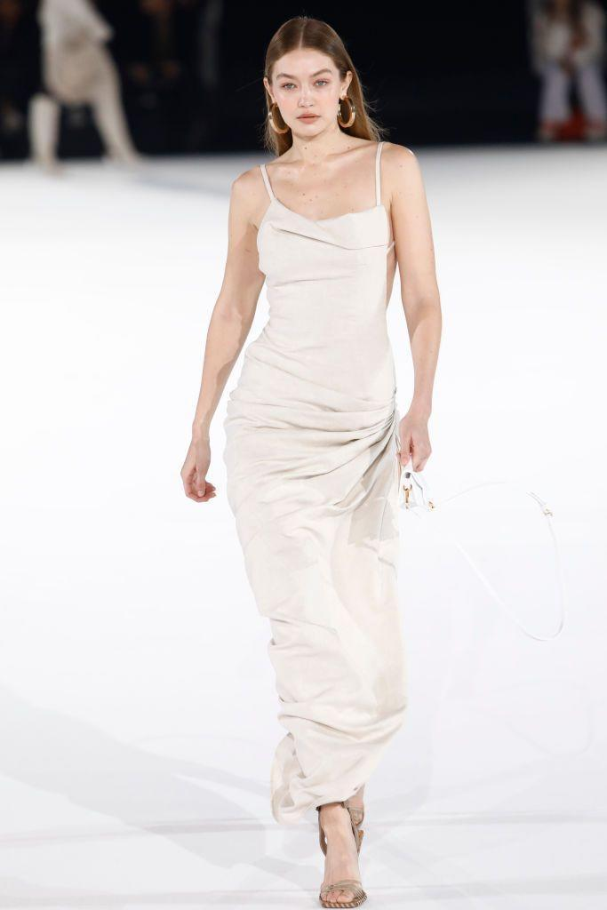 <p>Back in January, Instagram was alight with Hadid's sultry walk down Jacquemus' AW20 show during Men's fashion week – and to think she may have been pregnant while doing it. </p>