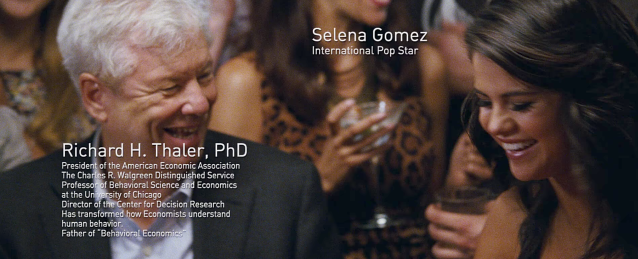 "Richard Thaler and Selena Gomez in ""The Big Short."" (Source: YouTube)"