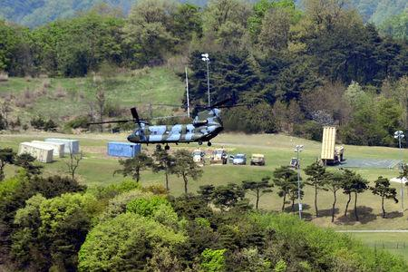 A Terminal High Altitude Area Defense (THAAD) interceptor is seen in Seongju