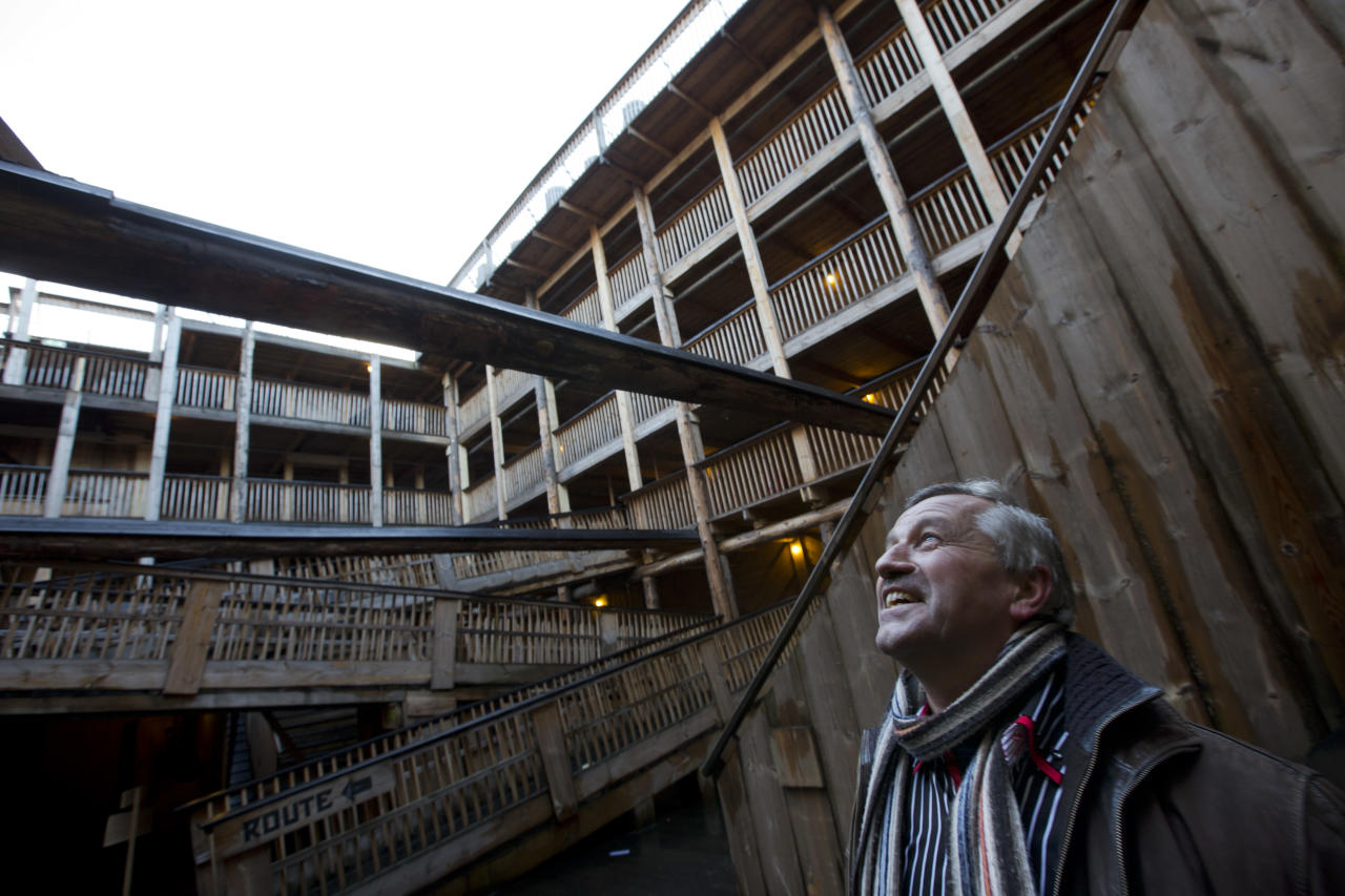 Johan Huibers looks up to the sky when showing journalists the inside of the full scale replica of Noah's Ark in Dordrecht, Netherlands, Monday Dec. 10, 2012. (AP Photo/Peter Dejong)