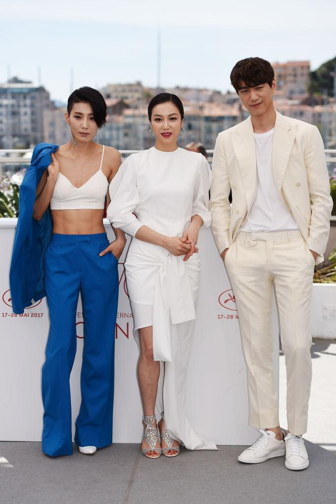 CANNES, FRANCE - MAY 21: Actors Kim Seo Hyung, Kim Ok-vin and Sung Joon attend the 'The Villainess (Ak-Nyeo)' photocall during the 70th annual Cannes Film Festival at Palais des Festivals on May 21, 2017 in Cannes, France. (Photo by Antony Jones/Getty Images)