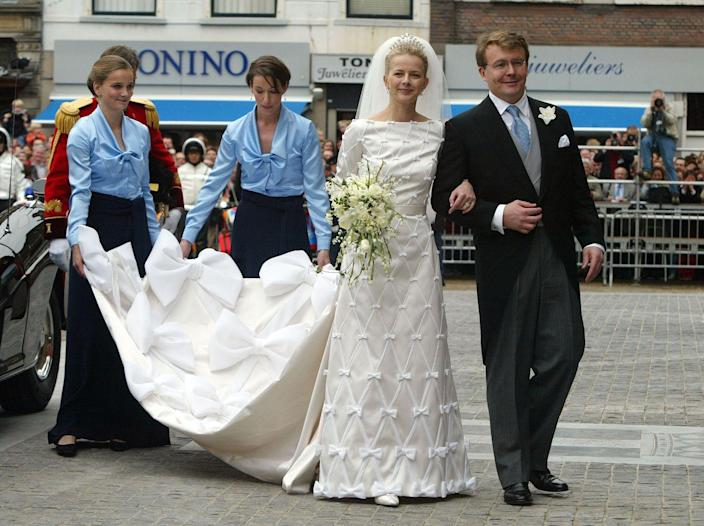 """<p>The now late Prince Friso of Orange-Nassau gave up his right to the Dutch throne in 2004. His marriage to Mabel Wisse Smit (who would become Princess Mabel of Orange-Nassau) was met with disapproval due to his bride's connections to """"Klaas Bruinsma, a gangster and drug baron who had been executed, gangland style, in 1991,"""" per <em><a href=""""https://www.nytimes.com/2003/10/12/world/revelations-about-dutch-prince-s-fiancee-rattle-royal-family.html"""" rel=""""nofollow noopener"""" target=""""_blank"""" data-ylk=""""slk:The New York Times"""" class=""""link rapid-noclick-resp"""">The New York Times</a></em>. The couple remained married until Prince Friso's death in August 2013.</p>"""
