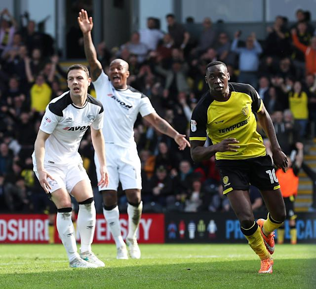 "Soccer Football - Championship - Burton Albion vs Derby County - Pirelli Stadium, Burton-on-Trent, Britain - April 14, 2018 Burton Albion's Lucas Akins celebrates scoring their third goal Action Images/John Clifton EDITORIAL USE ONLY. No use with unauthorized audio, video, data, fixture lists, club/league logos or ""live"" services. Online in-match use limited to 75 images, no video emulation. No use in betting, games or single club/league/player publications. Please contact your account representative for further details."