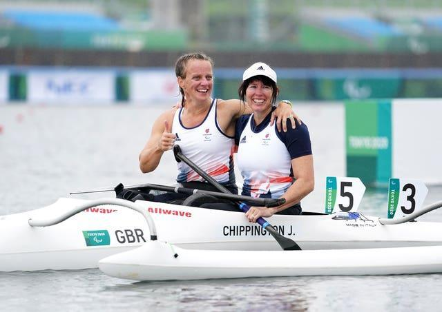 Great Britain's Emma Wiggs, left, celebrates with GB team-mate Jeanette Chippington