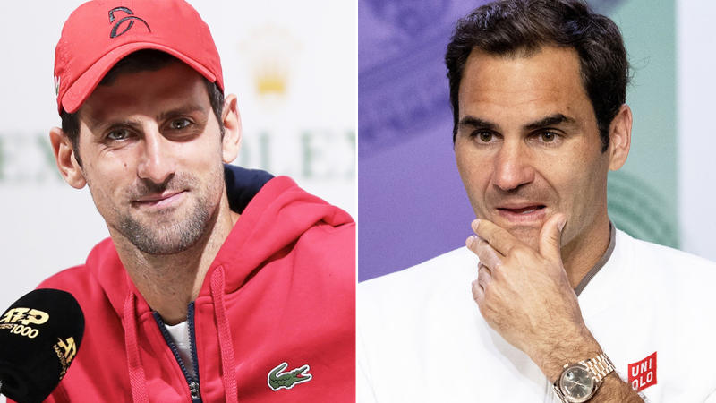 Novak Djokovic (pictured left) smiling during a press conference and Roger Federer (pictured right) thinking about a question.