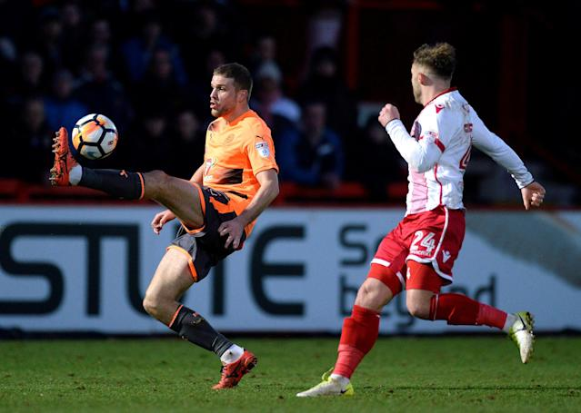 Soccer Football - FA Cup Third Round - Stevenage vs Reading - The Lamex Stadium, Stevenage, Britain - January 6, 2018 Reading's Joey van den Berg in action with Stevenage's Matthew Godden Action Images/Alan Walter
