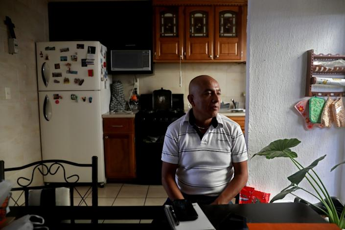 "Fernando Trejo Reyes, 45, was laid off from a factory in Querétaro in January and hasn't been able to find work since. He worries about how he is going to pay for his two daughters' private schooling. <span class=""copyright"">(Gary Coronado / Los Angeles Times)</span>"