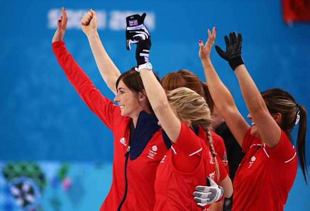 SOCHI, RUSSIA - FEBRUARY 20: (L-R) Eve Muirhead, Anna Sloan, Claire Hamilton and Vicki Adams of Great Britain celebrate as they win the bronze medal during the Bronze medal match between Switzerland and Great Britain on day 13 of the Sochi 2014 Winter Olympics at Ice Cube Curling Center on February 20, 2014 in Sochi, Russia. (Photo by Clive Mason/Getty Images)