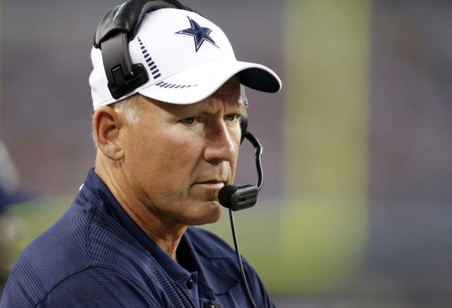 FILE - In this Aug. 24, 2013, file photo, Dallas Cowboys quarterbacks coach Wade Wilson during the first half of a preseason NFL football game against the Cincinnati Bengals Saturday, in Arlington, Texas. The Cowboys say former NFL quarterback and longtime assistant coach Wade Wilson passed away Friday, Feb. 1, 2019, at his home in Coppell, Texas. The team didnt specify a cause of death for Wilson, who died on his 60th birthday. (AP Photo/Sharon Ellman, File)