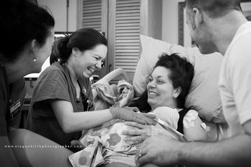 """""""Student midwife Kathy labored for over twenty hours, and L&D nurse Jen stayed by her side for hours. During the course of labor, they chatted and found out they were actually neighbors and are now great friends. What a wonderful way to start to a friendship!"""""""