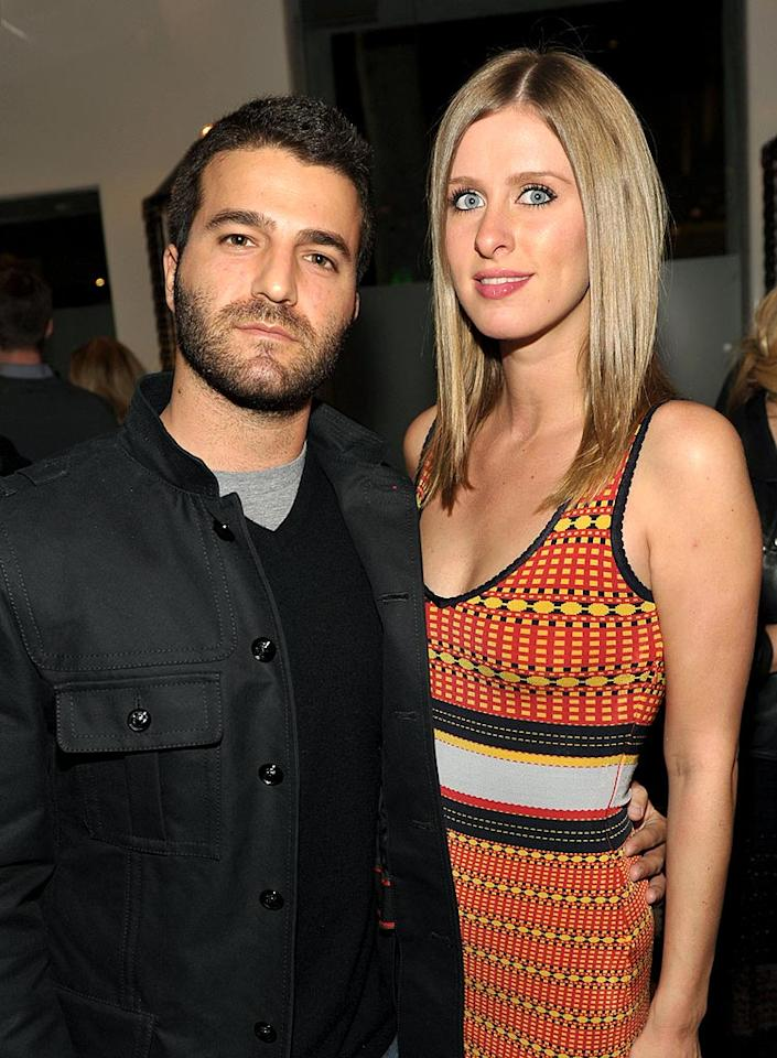 "David Katzenberg sported scruff while his longtime gal pal Nicky Hilton modeled an eye-catching Z Spoke design. John Shearer/<a href=""http://www.wireimage.com"" target=""new"">WireImage.com</a> - February 27, 2010"