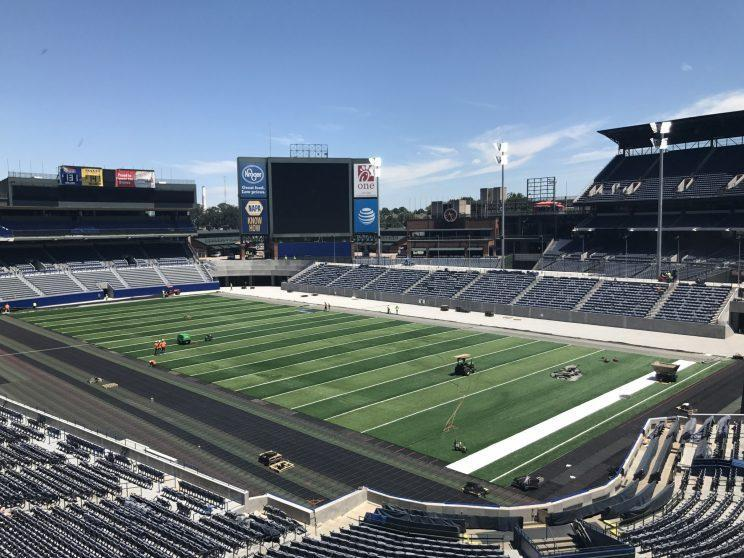 Turner Field has been transformed from a baseball stadium to a football one. (Yahoo Sports)