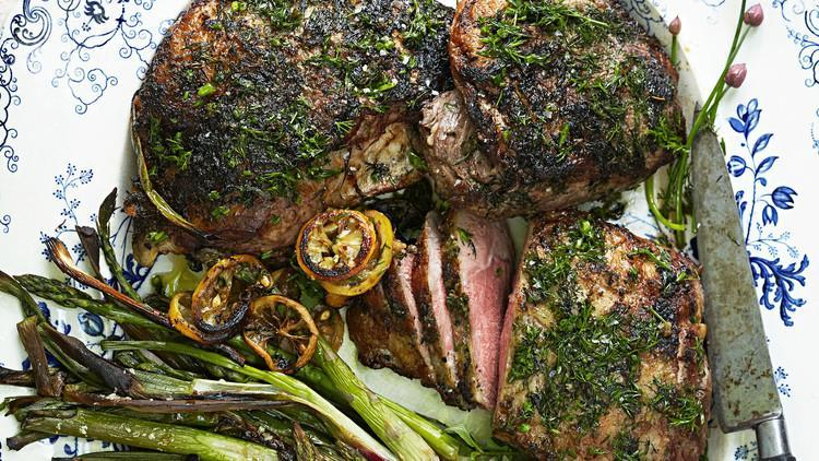 """<p>Ramp pesto is garlicky, savory, and loaded with flavor. It's just the thing to pair with an extra-special cut of boneless butterflied leg of lamb and spring asparagus. <a href=""""https://www.marthastewart.com/1513946/roasted-leg-lamb-asparagus-and-herbs"""" rel=""""nofollow noopener"""" target=""""_blank"""" data-ylk=""""slk:View recipe"""" class=""""link rapid-noclick-resp""""> View recipe </a></p>"""