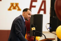 New University of Minnesota mens' head basketball coach Ben Johnson addresses the media after he was introduced Tuesday, March 23, 2021, in Minneapolis. Johnson replaces Richard Pitino, who was fired after eight seasons and took the job at New Mexico. (AP Photo/Jim Mone)