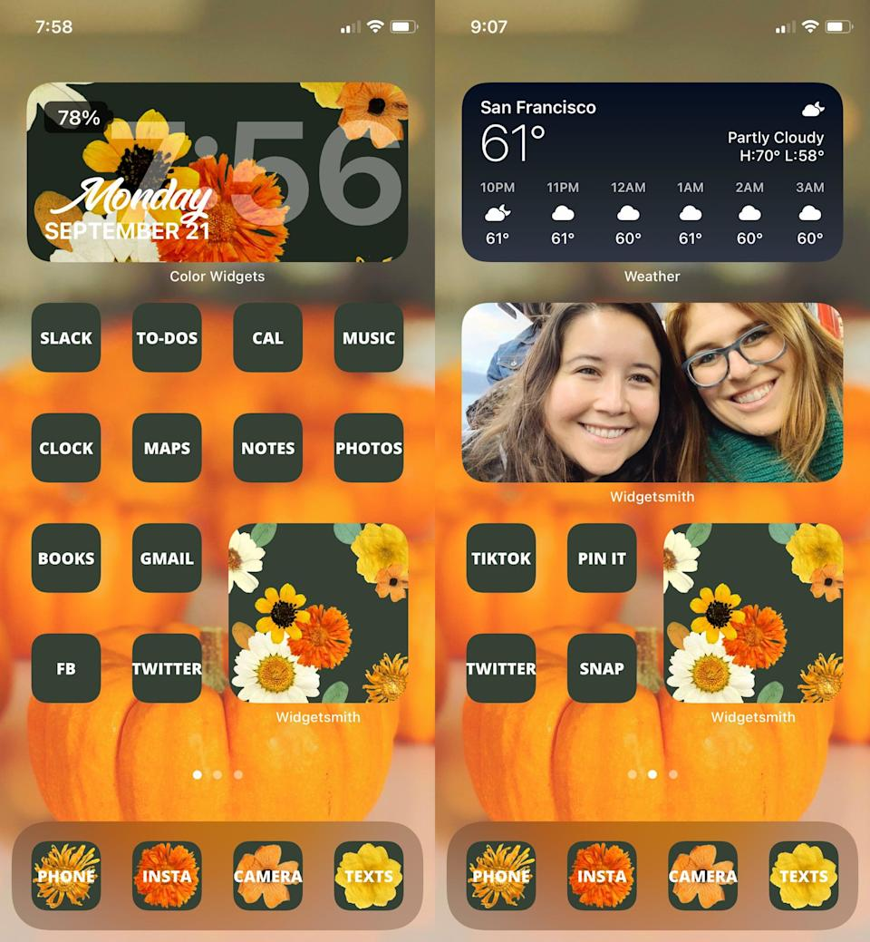 """<ul> <li>Search for graphics and photos around a theme or color scheme from your personal photos and on Pinterest, Instagram, and Google Images. If you want to go with a seasonal look, check out these <a href=""""https://www.popsugar.com/tech/halloween-aesthetic-inspiration-instagram-47810162"""" class=""""link rapid-noclick-resp"""" rel=""""nofollow noopener"""" target=""""_blank"""" data-ylk=""""slk:Halloween aesthetic inspo pictures"""">Halloween aesthetic inspo pictures</a>.</li> <li>You can use the free <a href=""""https://apps.apple.com/us/app/procreate-pocket/id916366645"""" class=""""link rapid-noclick-resp"""" rel=""""nofollow noopener"""" target=""""_blank"""" data-ylk=""""slk:Procreate Pocket app"""">Procreate Pocket app</a> to create artistic (or solid color) backgrounds and icon images for your home screen.</li> <li>The free and easy-to-use <a href=""""https://apps.apple.com/us/app/canva-graphic-design-video/id897446215"""" class=""""link rapid-noclick-resp"""" rel=""""nofollow noopener"""" target=""""_blank"""" data-ylk=""""slk:Canva app"""">Canva app</a> is great for designing social graphics, icons, and wallpapers.</li> <li>I used the <a href=""""https://apps.apple.com/us/app/a-design-kit/id1292829069"""" class=""""link rapid-noclick-resp"""" rel=""""nofollow noopener"""" target=""""_blank"""" data-ylk=""""slk:A Design Kit app"""">A Design Kit app</a> to design all the graphics you see here. It's a user-friendly app that I personally love for creating artistic designs that combine art and text.</li> <li>Check out more <a href=""""https://www.popsugar.com/tech/ios-14-homescreen-aesthetic-options-47807286"""" class=""""link rapid-noclick-resp"""" rel=""""nofollow noopener"""" target=""""_blank"""" data-ylk=""""slk:iOS 14 home-screen aesthetic ideas here"""">iOS 14 home-screen aesthetic ideas here</a>.</li> </ul>"""