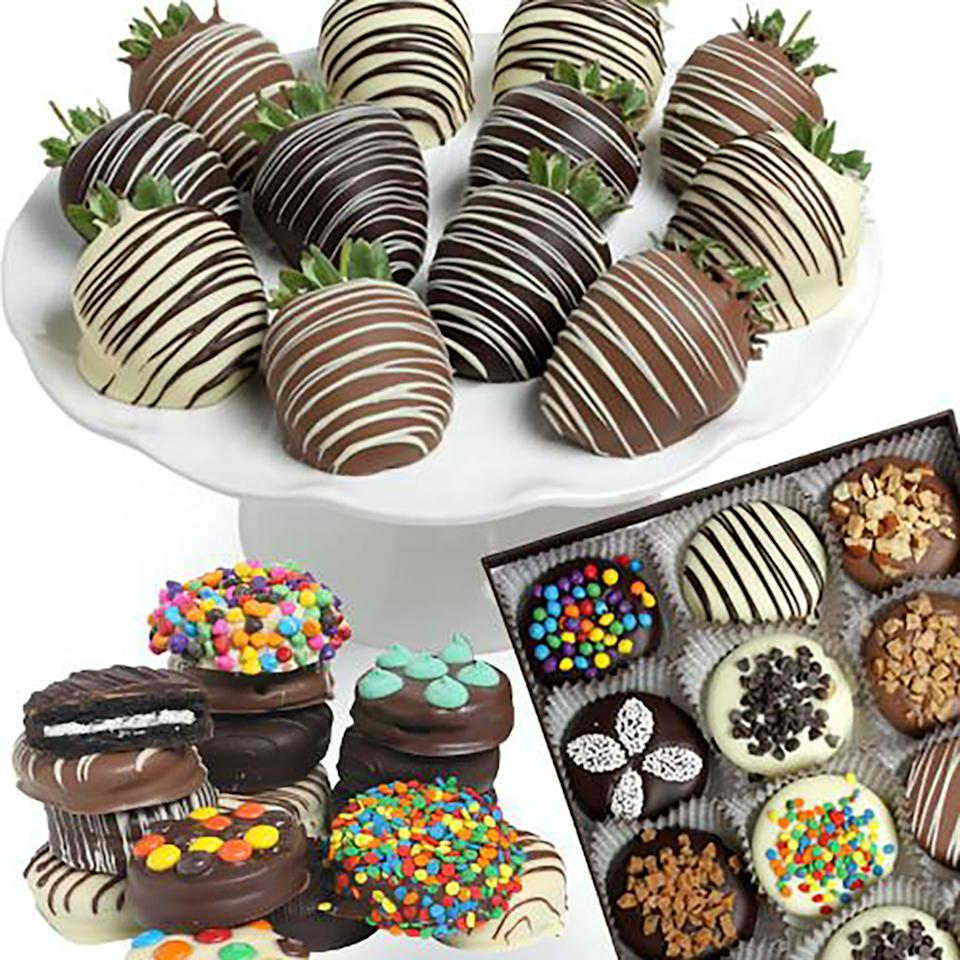 """<p><strong>The Chocolate Covered Co.</strong></p><p>goldbelly.com</p><p><strong>$89.00</strong></p><p><a href=""""https://go.redirectingat.com?id=74968X1596630&url=https%3A%2F%2Fwww.goldbelly.com%2Fthe-chocolate-covered-company%2Fbelgian-chocolate-covered-berries-and-ultimate-oreos%3Fsearch_id%3D36015542%26ref%3Dsearch&sref=https%3A%2F%2Fwww.goodhousekeeping.com%2Fholidays%2Fvalentines-day-ideas%2Fg30531374%2Fwhere-to-buy-chocolate-covered-strawberries%2F"""" rel=""""nofollow noopener"""" target=""""_blank"""" data-ylk=""""slk:Shop Now"""" class=""""link rapid-noclick-resp"""">Shop Now</a></p><p>Goldbelly lets customers order food items from across the country in case you're craving a specific meal from miles away. The site also houses dessert, like these Belgian chocolate covered berries and Oreos from the Chocolate Covered Company. It's a bit pricey, but this set makes the ultimate gift for someone special.</p><p><em>We recommend ordering in advance since orders ship nationwide.</em> </p>"""