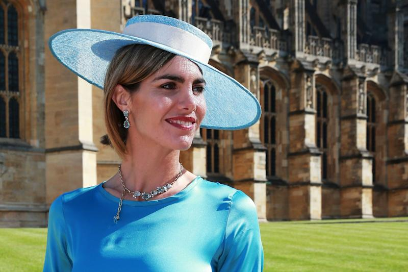 Socialite Delfina Blaquier arrives at the wedding of Prince Harry to Ms Meghan Markle at St George's Chapel, Windsor Castle on May 19, 2018 in Windsor, England.