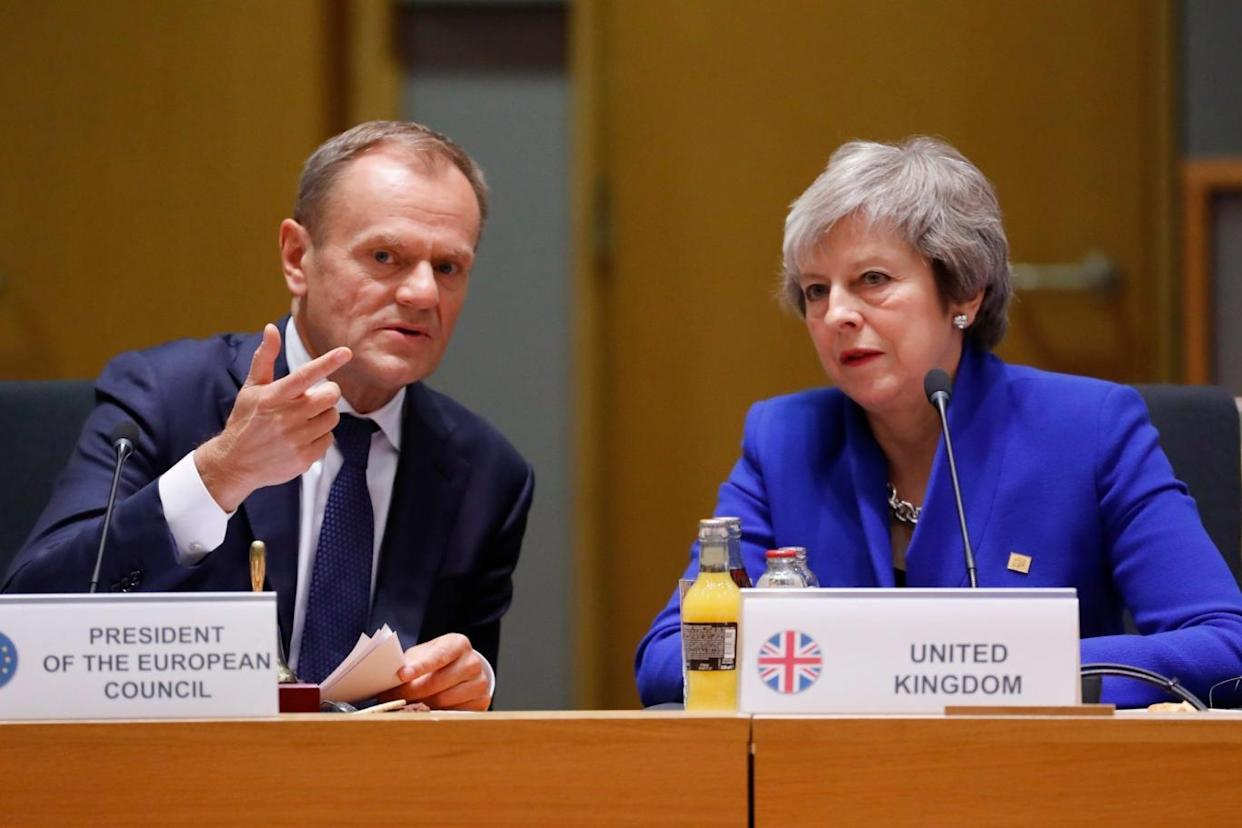 Theresa May and European Council president Donald Tusk meet during a special EU summit in Brussels (EPA)