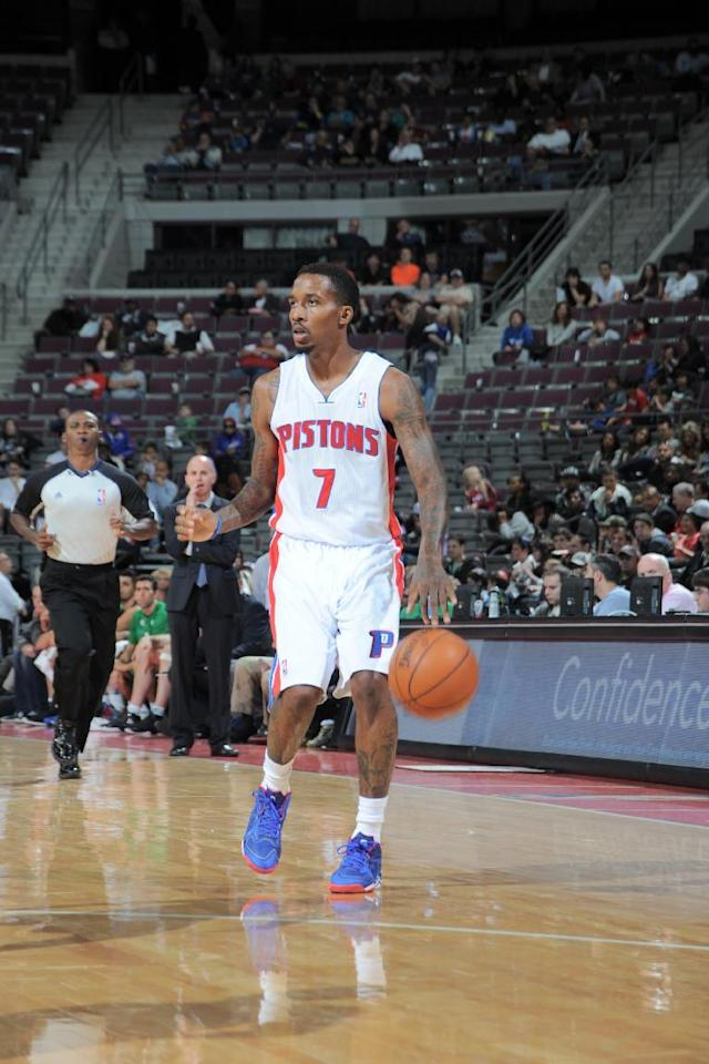 AUBURN HILLS, MI - OCTOBER 8: Brandon Jennings #7 of the Detroit Pistons handles the ball against the Maccabi Haifa during the game on October 8, 2013 at The Palace of Auburn Hills in Auburn Hills, Michigan. (Photo by Allen Einstein/NBAE via Getty Images)