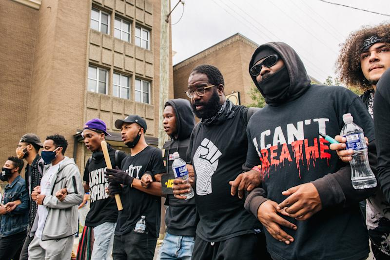 Demonstrators march in the street following the grand jury verdict on Sept. 23 in Louisville, Ky. (Brandon Bell/Getty Images)