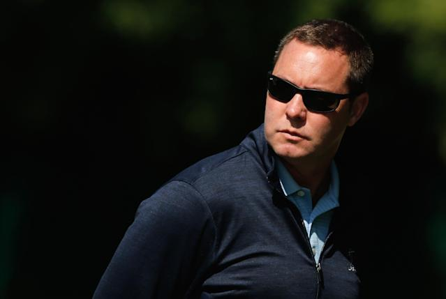 PITTSFORD, NY - JUNE 09: LPGA commissioner Mike Whan watches the play during the weather-delayed third round of the Wegmans LPGA Championship at Locust Hill Country Club on June 9, 2013 in Pittsford, New York (Photo by Scott Halleran/Getty Images)