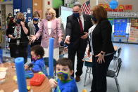 First lady Jill Biden and Education Secretary Miguel Cardona tour Benjamin Franklin Elementary School, Wednesday, March 3, 2021 in Meriden, Ct. (Mandel Ngan/Pool via AP)