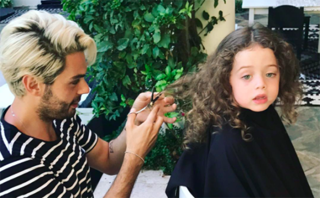 Celebrity hairstylist Joey Maalouf cutting Kaius' hair. (Photo: Instagram)