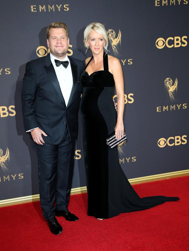 LOS ANGELES, CA - SEPTEMBER 17: TV personality James Corden (L) and producer Julia Carey attend the 69th Annual Primetime Emmy Awards - Arrivals at Microsoft Theater on September 17, 2017 in Los Angeles, California. (Photo by David Livingston/Getty Images)