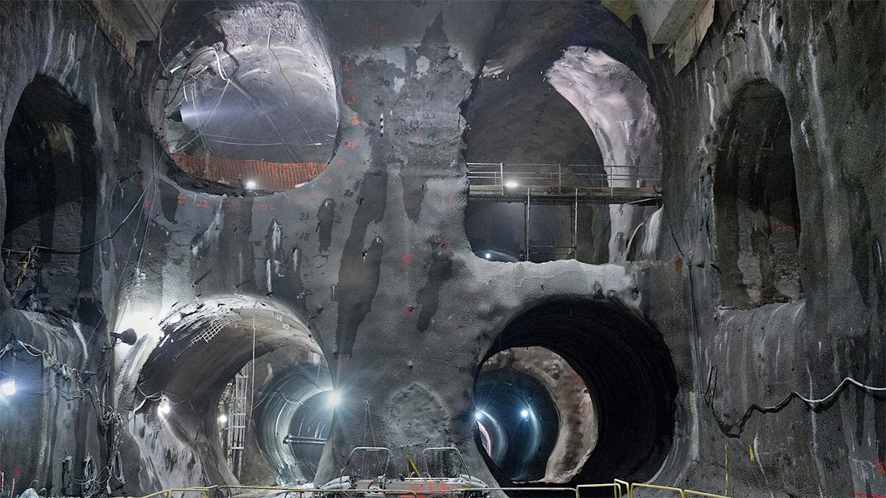 "Two gigantic ""earthwork"" machines, along with a team of workers, have excavated some 265,000 cubic metres of bedrock, producing more than 9 kilometres of tunnels and caverns."