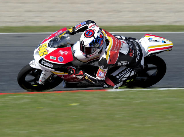 Racing Team Germay's French Louis Rossi rides at the Catalunya racetrack in Montmelo, near Barcelona, on June 1, 2012, during the Moto3 first training session of the Catalunya Moto GP Grand Prix. AFP PHOTO / JOSEP LAGOJOSEP LAGO/AFP/GettyImages