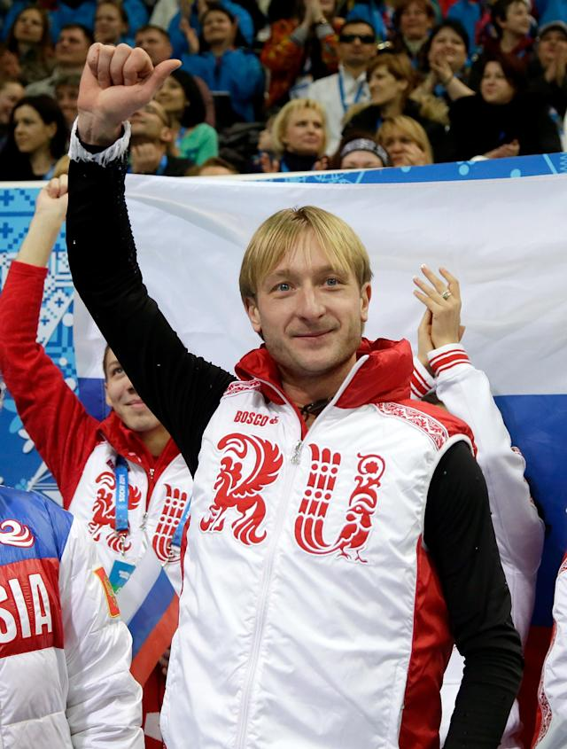 SOCHI, RUSSIA - FEBRUARY 06: Evgeny Plyushchenko of Russia reacts after competing in the Figure Skating Men's Short Program during the Sochi 2014 Winter Olympics at Iceberg Skating Palace on February 6, 2014 in Sochi, Russia. (Photo by Darren Cummings/Pool/Getty Images)