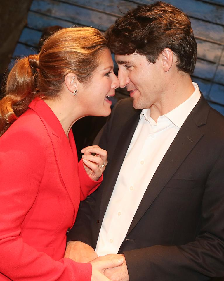 Canadian Prime Minister Justin Trudeau and wife Sophie share a romantic moment backstage at the Broadway musical Come from Away on Wednesday.