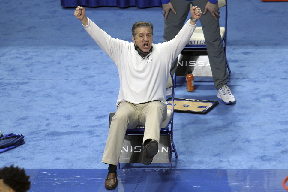 Kentucky head coach John Calipari reacts to a play during the first half of an NCAA college basketball game against Florida in Lexington, Ky., Saturday, Feb. 27, 2021. (AP Photo/James Crisp)