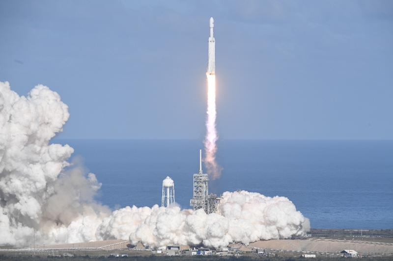The SpaceX Falcon Heavy takes off from Pad 39A at the Kennedy Space Center in Florida, on February 6, 2018