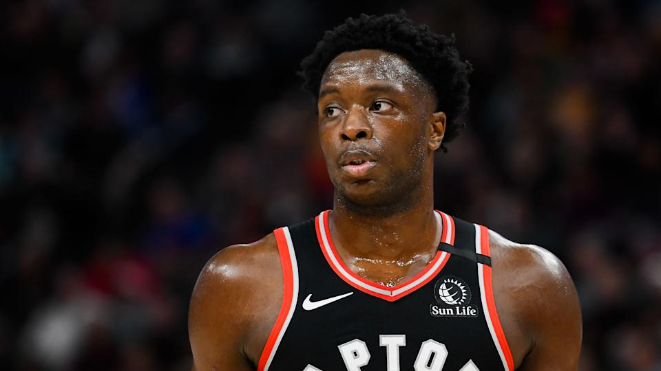 SALT LAKE CITY, UT - MARCH 09: OG Anunoby #3 of the Toronto Raptors looks on during a game against the Utah Jazz at Vivint Smart Home Arena on March 9, 2020 in Salt Lake City, Utah. NOTE TO USER: User expressly acknowledges and agrees that, by downloading and/or using this photograph, user is consenting to the terms and conditions of the Getty Images License Agreement.  (Photo by Alex Goodlett/Getty Images)