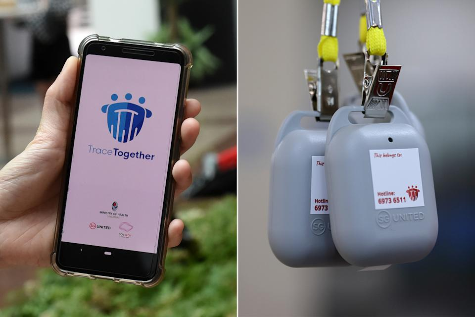 The TraceTogether app (left) and token (right). (PHOTOS: Getty Images / Reuters)