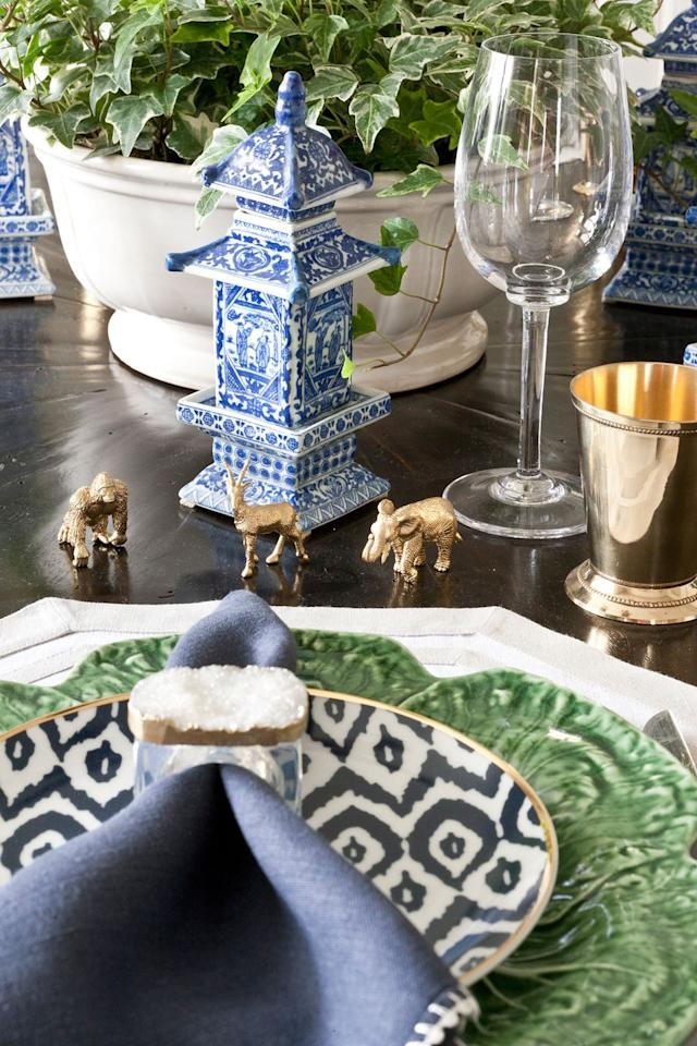 """<p>This year, designer <a href=""""https://meyerinteriors.com/"""" target=""""_blank"""">Marika Meyer</a> is trading the traditional Thanksgiving palette for a chinoiserie theme. """"We are using lots of gold paired with traditional blue and white colors and tabletop accents, like pagodas and gold animals!""""<br></p>"""