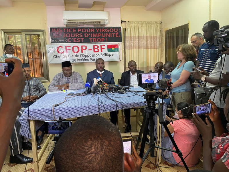 Opposition leaders and presidential candidates Ablasse Ouedraogo, Zephirin Diabre and Eddie Komboigo hold a press conference ahead of the presidential and legislative elections, in Ouagadougou