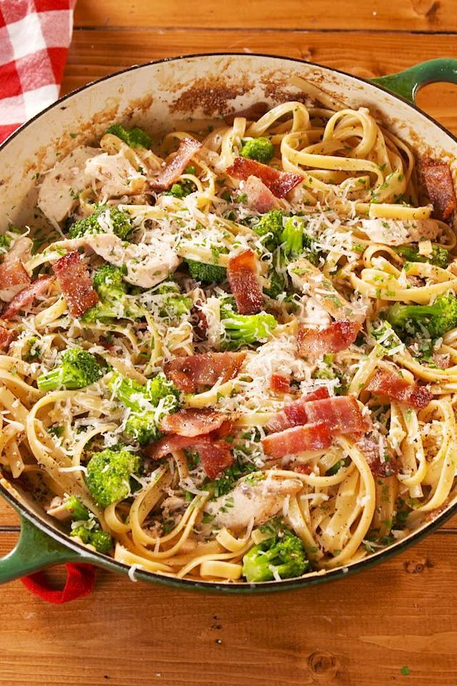 """<p>Name a dish more perfect than <a href=""""https://www.delish.com/uk/cooking/recipes/a28852601/one-pot-chicken-alfredo-recipe/"""" target=""""_blank"""">Chicken Alfredo</a>. We'll wait. But seriously, when we're craving carbs, nothing else will do. This version is made extra appealing with the addition of crispy bacon, plus a some broccoli to make it a complete meal. We'd eat this every night if we could. </p><p>Get the <a href=""""https://www.delish.com/uk/cooking/recipes/a29827202/bacon-and-broccoli-chicken-alfredo-recipe/"""" target=""""_blank"""">Bacon & Broccoli Chicken Alfredo</a> recipe.</p>"""