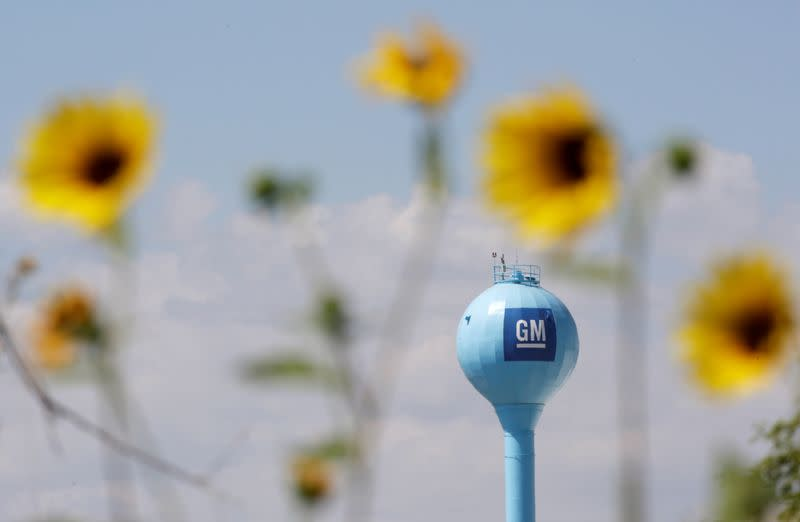 The GM logo is seen at the General Motors Assembly Plant in Ramos Arizpe