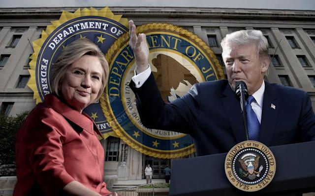 Hillary Clinton, RFK Department of Justice Building, Donald Trump. (Yahoo News photo-illustration; photos: Cindy Ord/Getty Images for Women's Media Center; Alex Brandon/AP; Andrew Harnik/AP)