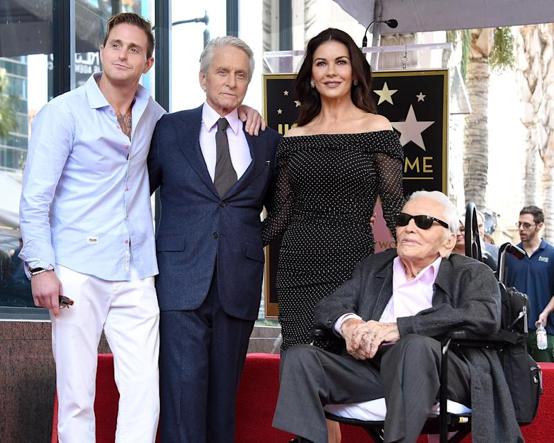 Family: Kirk (far right) with Zeta-Jones and Cameron Douglas at Michael's Hollywood Walk of Fame ceremony in 2018 (Gregg DeGuire/Getty Images)