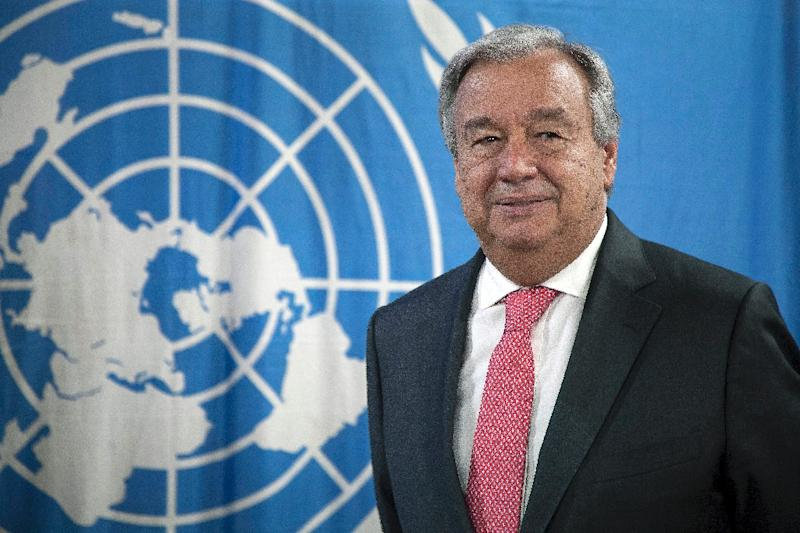 United Nations Secretary General Antonio Guterres, pictured in this October 26, 2017 file photo, says he has been talking with countries in the Middle East as well as nations with influence there in a bid to defuse the situation in Lebanon