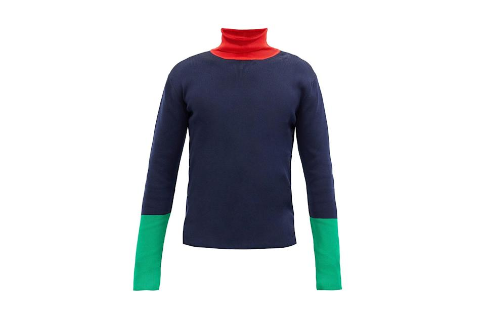 """$470, Wales Bonner. <a href=""""https://www.matchesfashion.com/us/products/Wales-Bonner-Goto-colour-block-roll-neck-ribbed-sweater-1365079"""" rel=""""nofollow noopener"""" target=""""_blank"""" data-ylk=""""slk:Get it now!"""" class=""""link rapid-noclick-resp"""">Get it now!</a>"""
